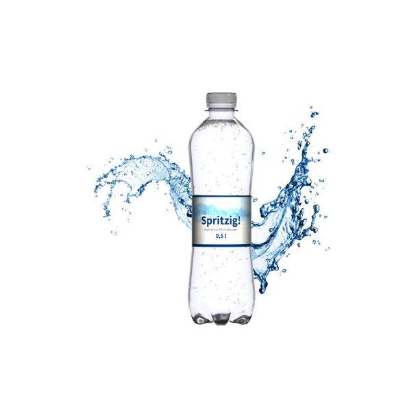 """500 ml Mineralwasser """"spritzig"""" (Flasche """"Slimline"""") - Smart Label (Export - Pfandfrei)"""